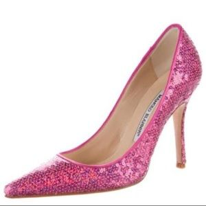 Manolo Blahnik Pink Sequins Pointed Toe Heels